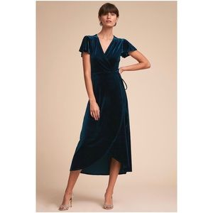 BHLDN Thrive Velvet Midi Wrap Dress